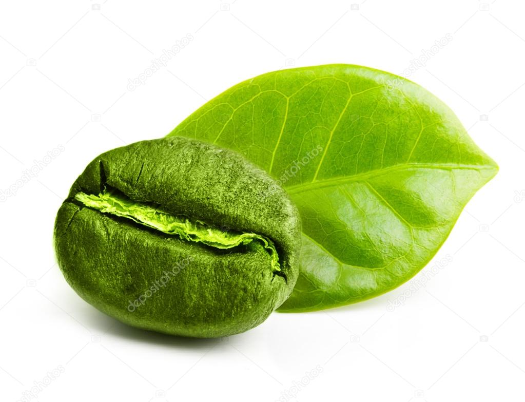 Green coffee bean with leaf