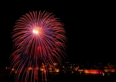 Fireworks, Colorful fireworks on the black sky background, Colorful fireworks of various colors over night sky with city view on the bottom, Malta, maltese fireworks, firework festival
