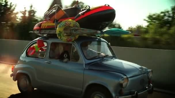 Loaded family car on the road