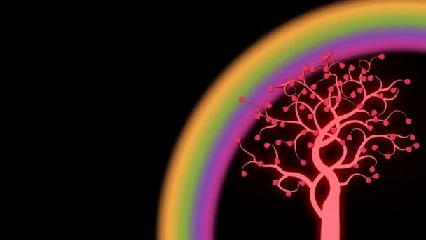 Növekvő fényes fa gyönyörű szivárvány animált