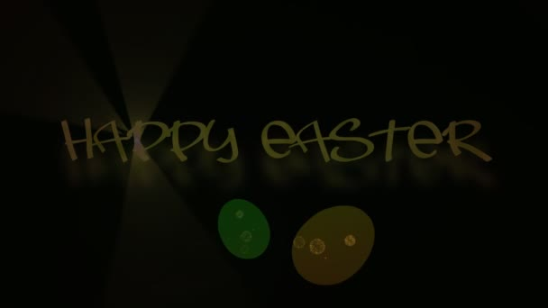 Inscritpion Happy Easter with eggs animated