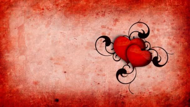 Animazione Con Cuori Sullo Sfondo Rosso Antico Carta Video Stock
