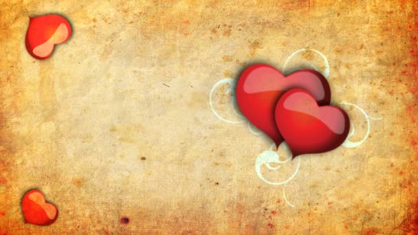 Animated hearts with animated vines on the old-paper background