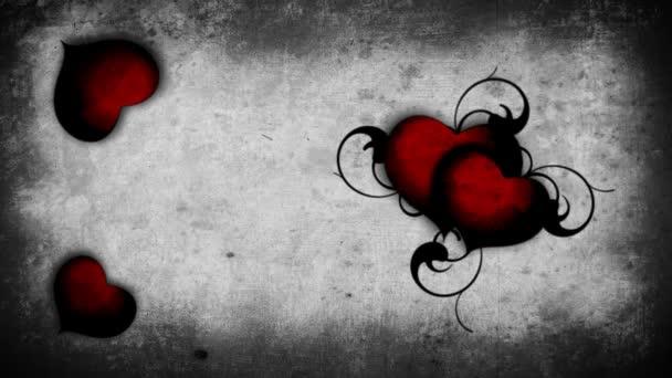 krvavé červené srdce na zeď na pozadí