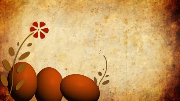 velikonoční vejce s animovaným rostoucí květiny na starý papír