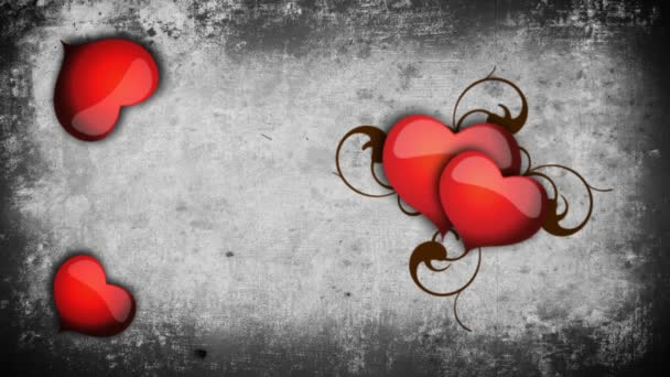 Animated hearts on a concrete wall background
