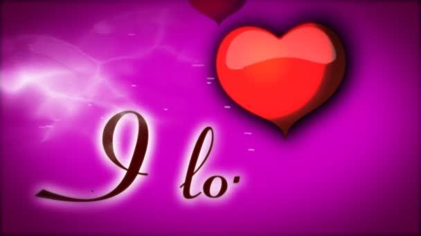 Piros szív, lila háttér animációs és felirat szeretlek