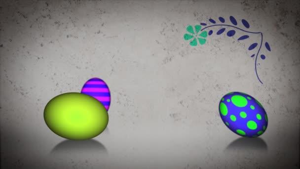 Animált húsvéti tojást gördülő körül a növekvő florals