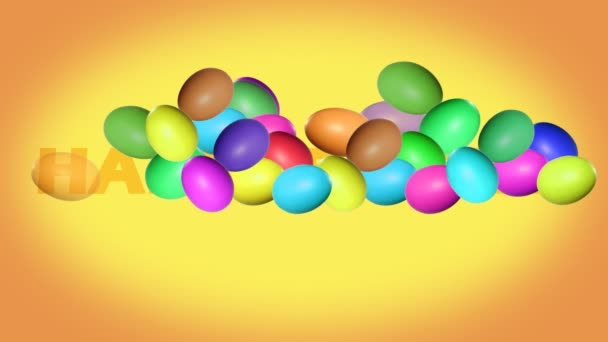 Inscription Happy Easter with animated colorful eggs