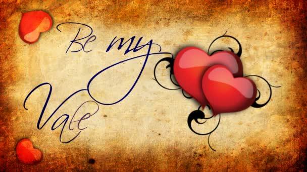 Animované být můj Valentýn znamení s bití srdce na staré papírové pozadí