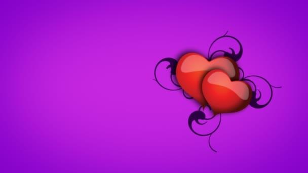 Animált szívét, szőlővel, lila háttér