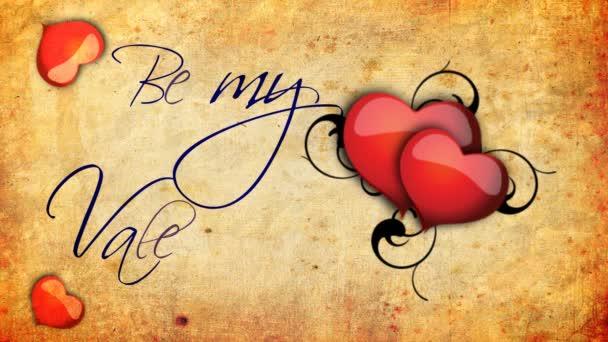 být můj Valentýn animace s bití srdce a vinnou révu na staré papírové pozadí