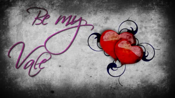 Animált lila lenni az én-m Valentin jel a dobogó szív, a szürke falon háttér