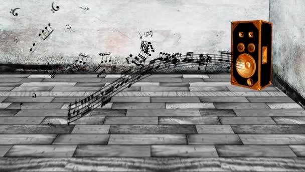 Note di musica animata doming dallaltoparlante
