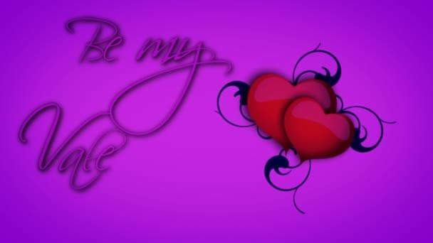 Lila lenni az én-m Valentin jel animált szívét és szőlővel, lila háttér
