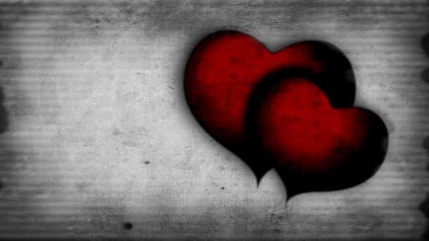 dvě červené tlukot srdce na starý film účinek na pozadí