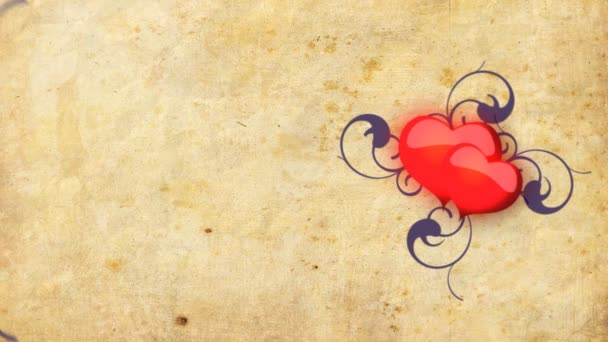 Red hearts beating on the old paper background
