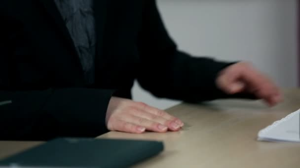 Hands and documents at business meeting with CEO and employee