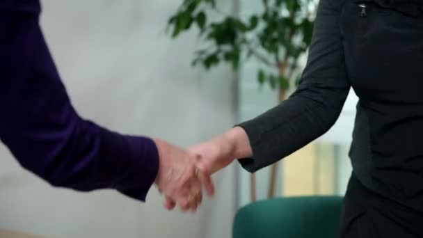 Handshake of employee and customer