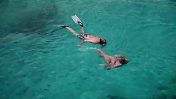Young divers enjoying swimming