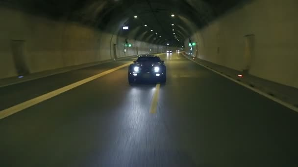 Corvette Overtakes And Passes By The Camera In The Night