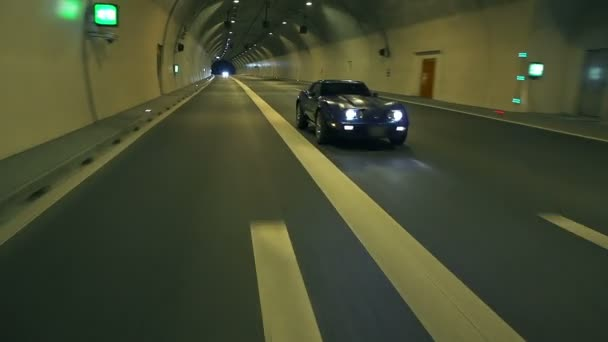 Corvette Drives Behind The Camera In The Tunnel