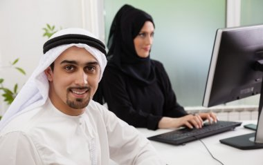 Arabic business couple working