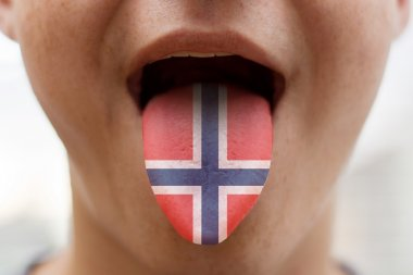 Tongue with the flag of Norway