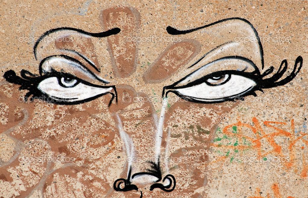 Graffiti Sanatı Boya Gözler Stok Editoryel Fotoğraf