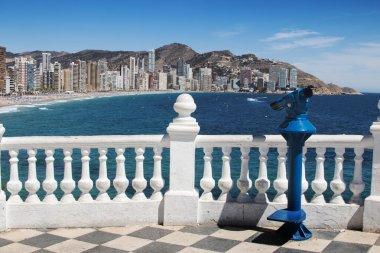 Balcony with view of Benidorm Levante Beach from Mediterranean C