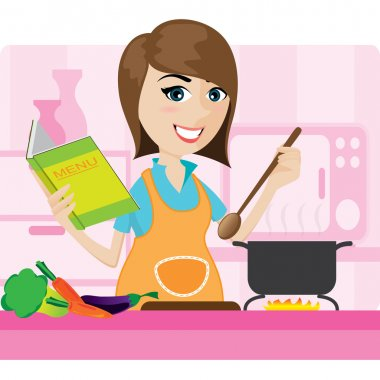 cartoon housewife cooking in kitchen