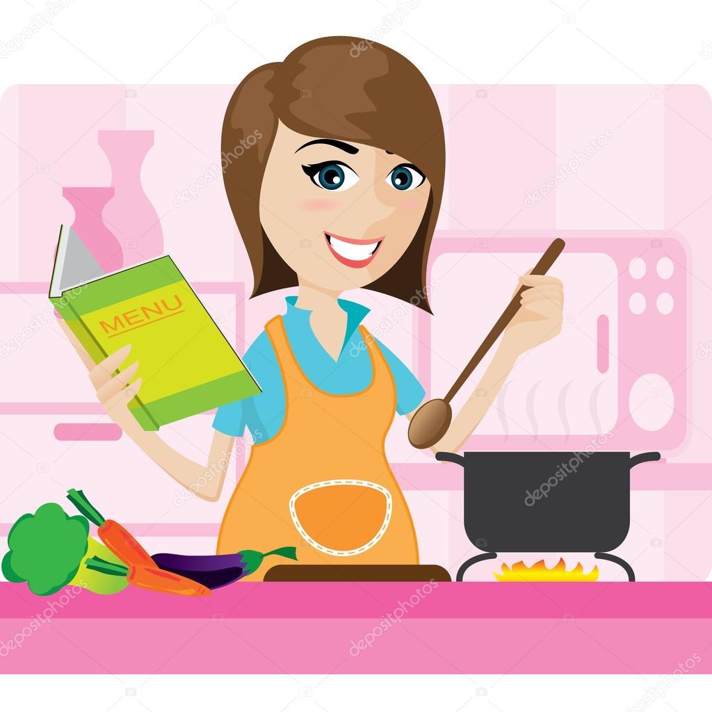 Ama de casa de dibujos animados cocinando en cocina for Cocinar imagenes animadas