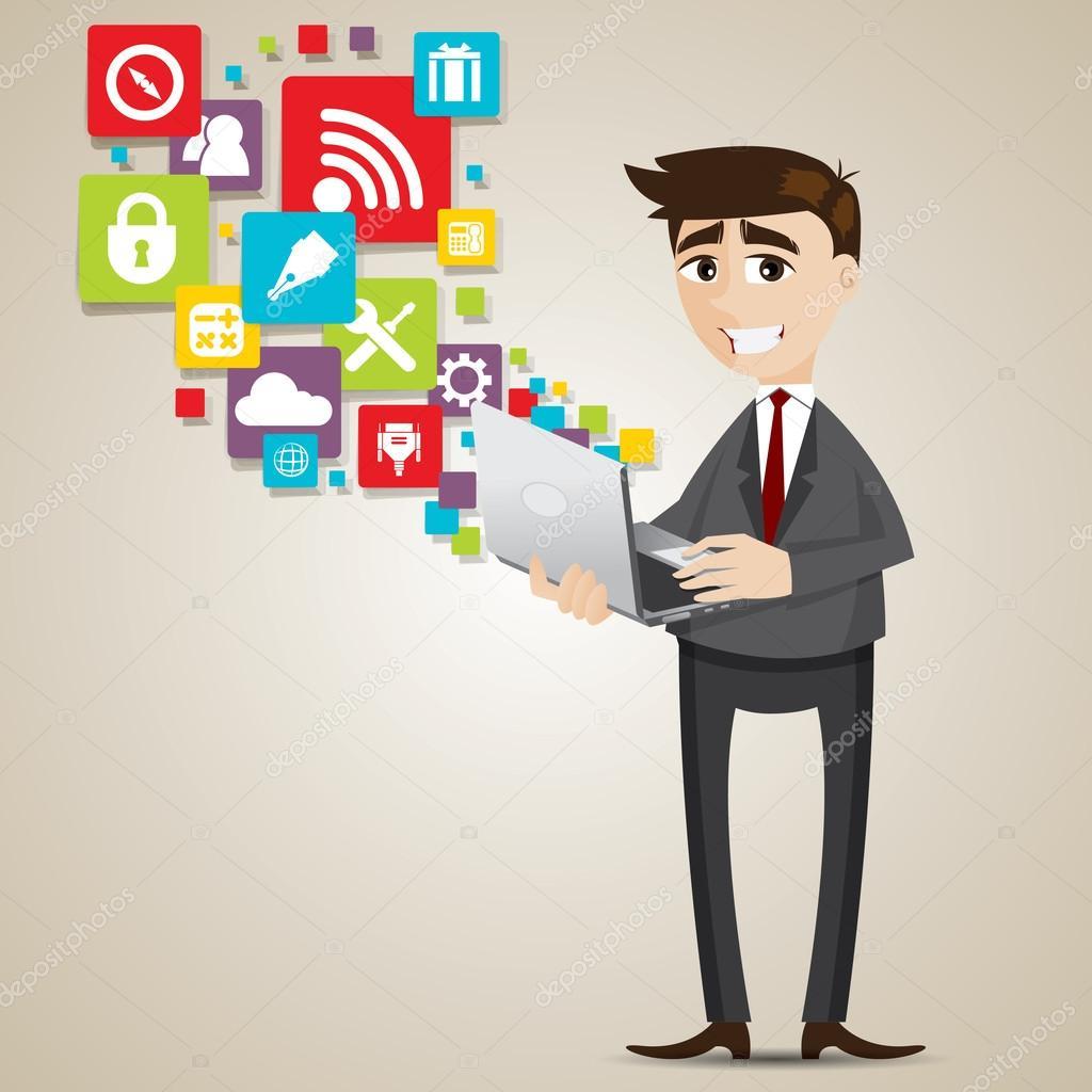Uomo d affari di cartone animato con laptop e icona