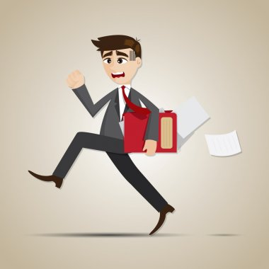cartoon businessman in rush hours