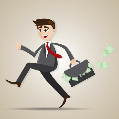 cartoon businessman running with bag full of money