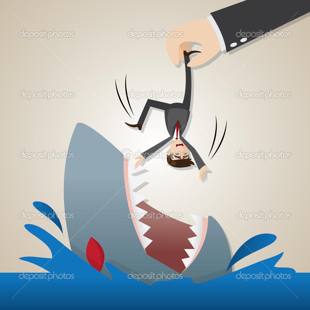 Uomo d affari fumetto squalo affamato lasciato cadere