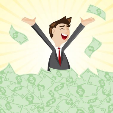 cartoon businessman on pile of money cash