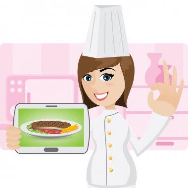 Cartoon little chef showing menu steak in tablet