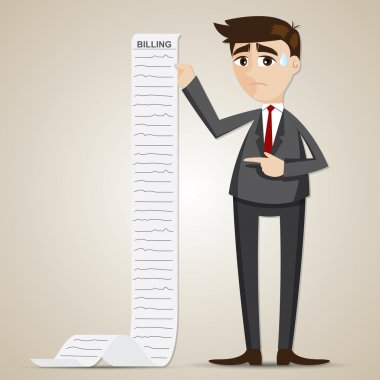 cartoon businessman with long billing paper
