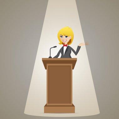 cartoon businesswoman talking on podium