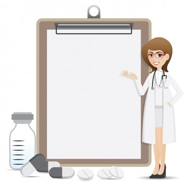 Illustration of cartoon smart pharmacist presentation with blank clip board clip art vector
