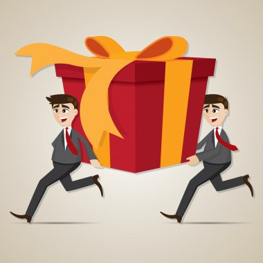 cartoon businessman carrying big gift box