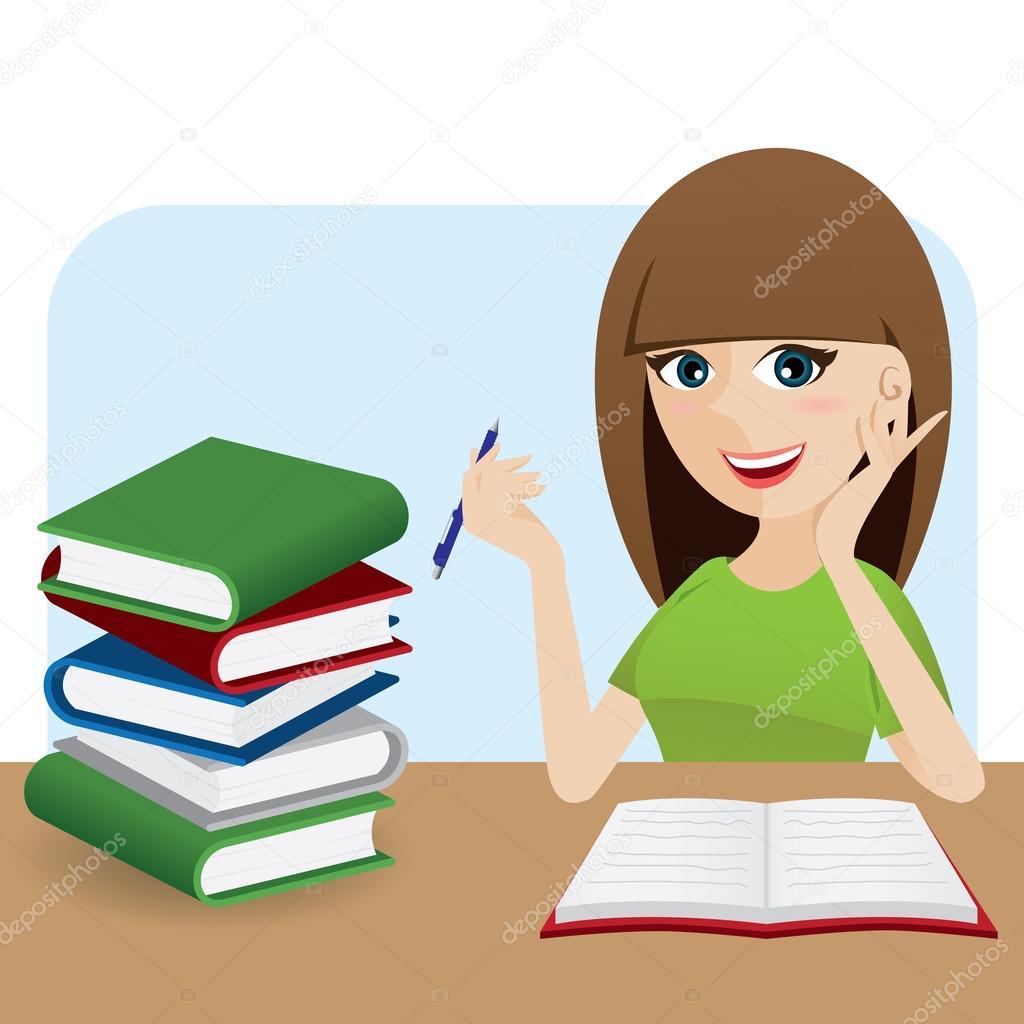cartoon smart girl writing book on table — stock vector © noppadol