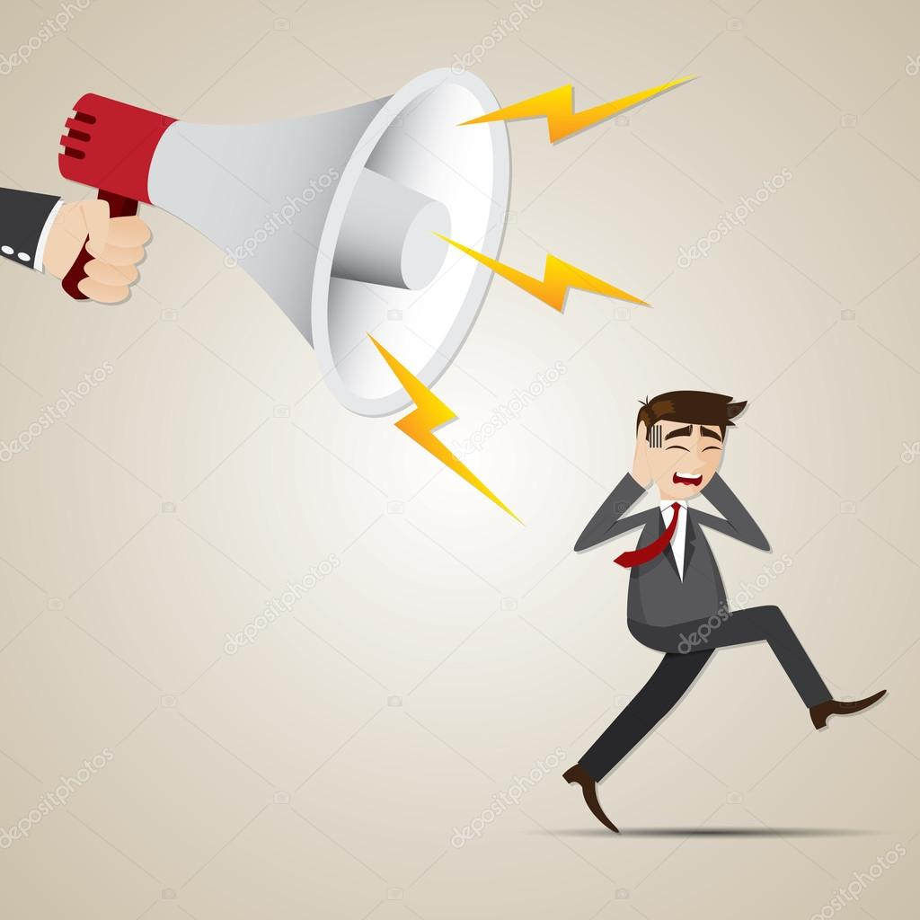 Uomo d affari cartone animato scappa dal grande megafono