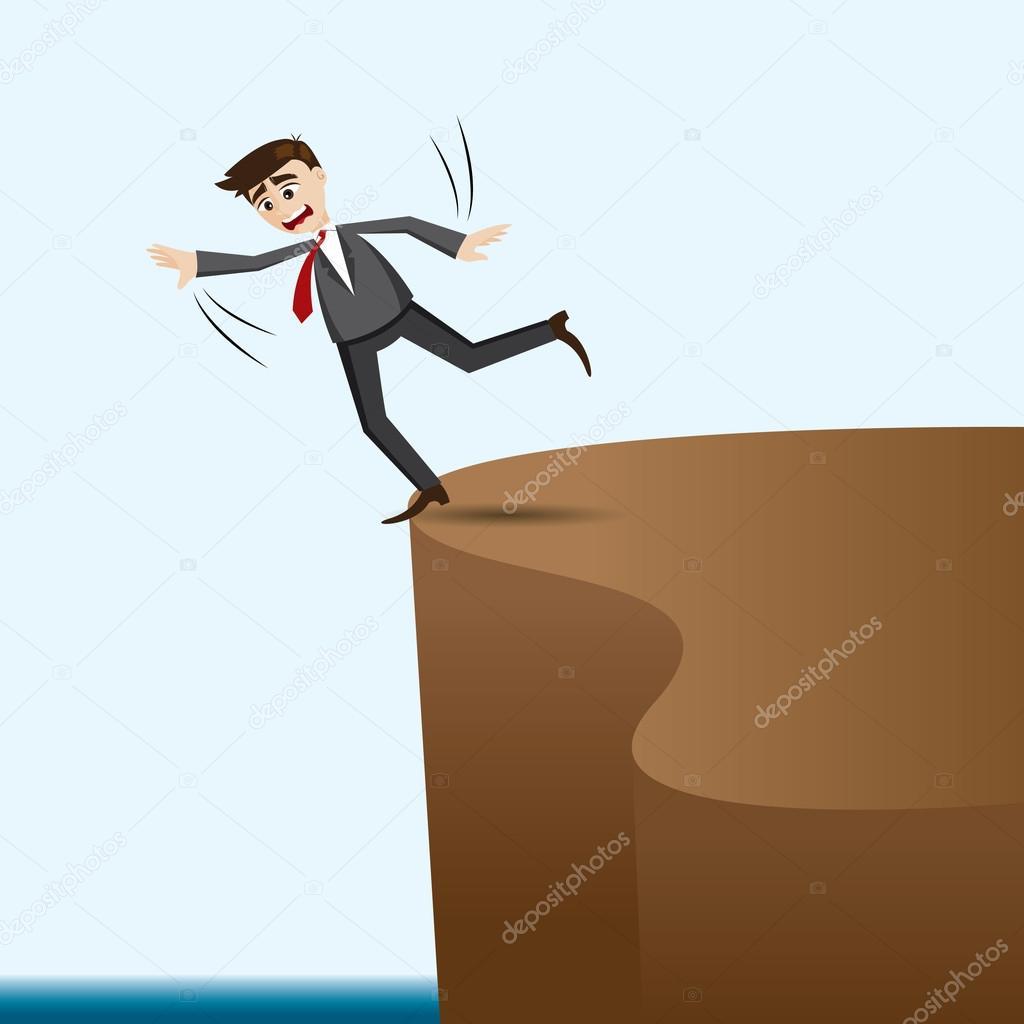 cartoon businessman risky on cliff