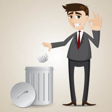 cartoon businessman put paper in recycle bin
