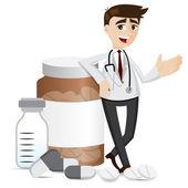 Kreslený lékárník s prášky na medicínu a láhev