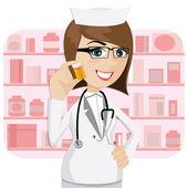 Kreslená dívka lékárník zobrazeno lék láhev