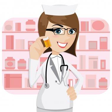 cartoon girl pharmacist showing medicine bottle