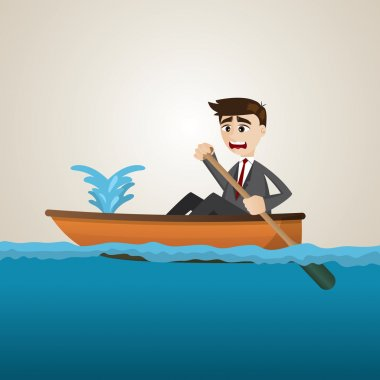 cartoon businessman with leaking boat